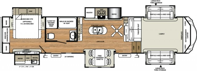 2017 Sandpiper 6 Slides Front Living Room Great Buy Fifth Wheel